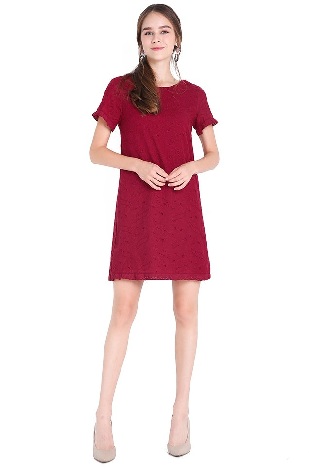 Lighthearted Affection Dress In Wine Red