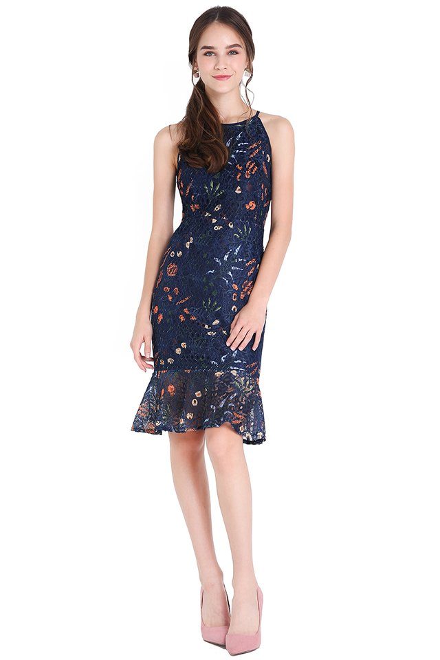 Whimsical Blooms Dress In Navy Blue