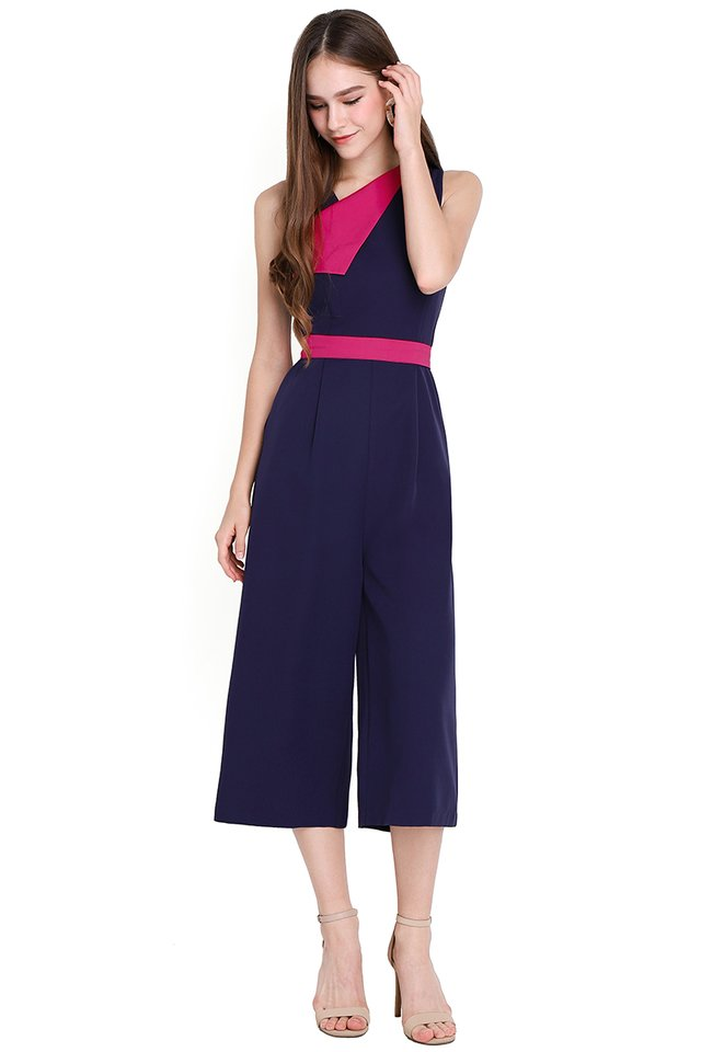 [BO] You're A Gem Romper In Navy Magenta