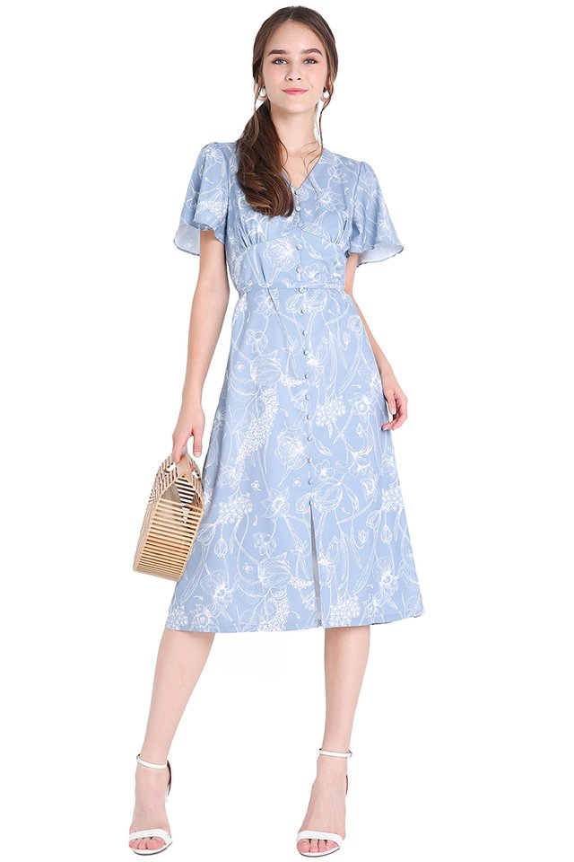 Dainty Blossoms Dress In Blue Florals