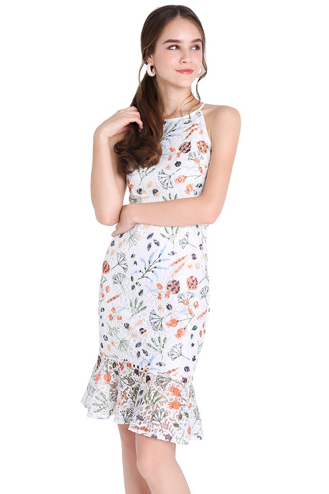 Whimsical Blooms Dress In Classic White
