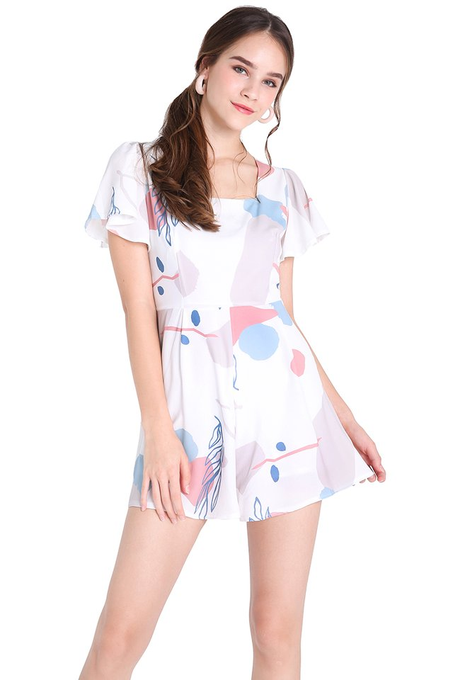 Pastel Palette Romper In White Prints