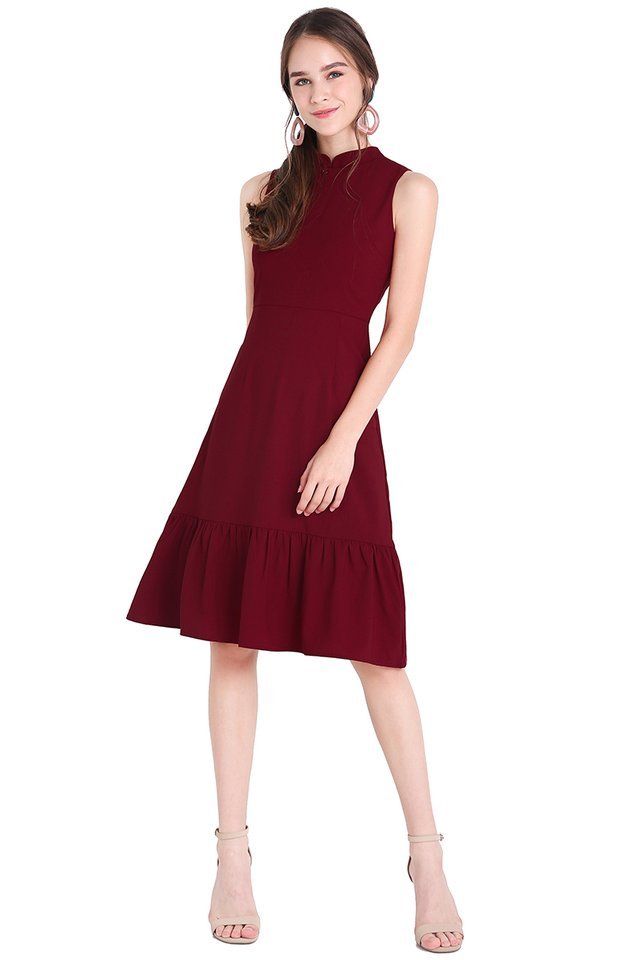 Infinite Happiness Dress In Wine Red