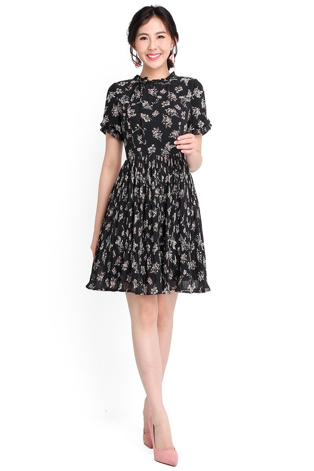 Springtime Romance Dress In Black Florals