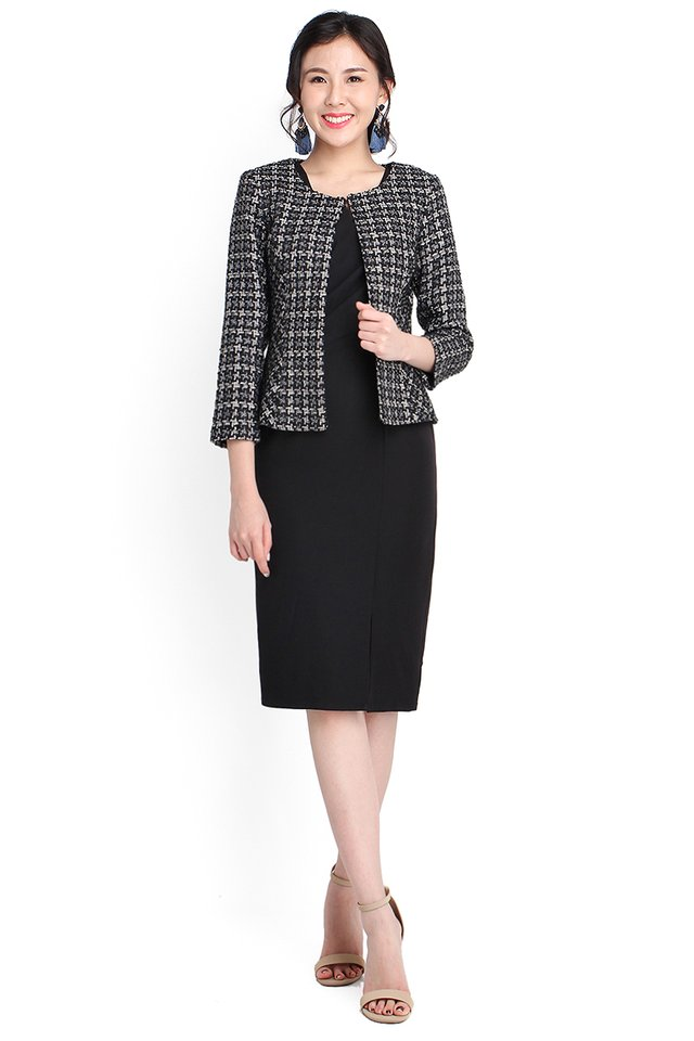 Born To Dazzle Jacket In Black Tweed