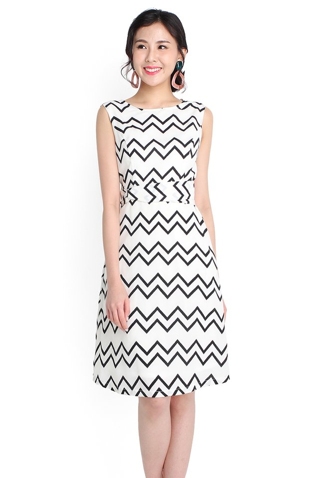 Lucky Charm Dress In Monochrome Prints