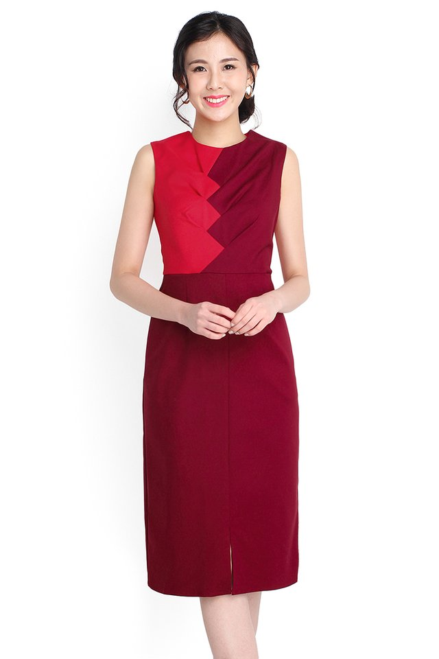 Alluring Reverie Dress In Wine Red