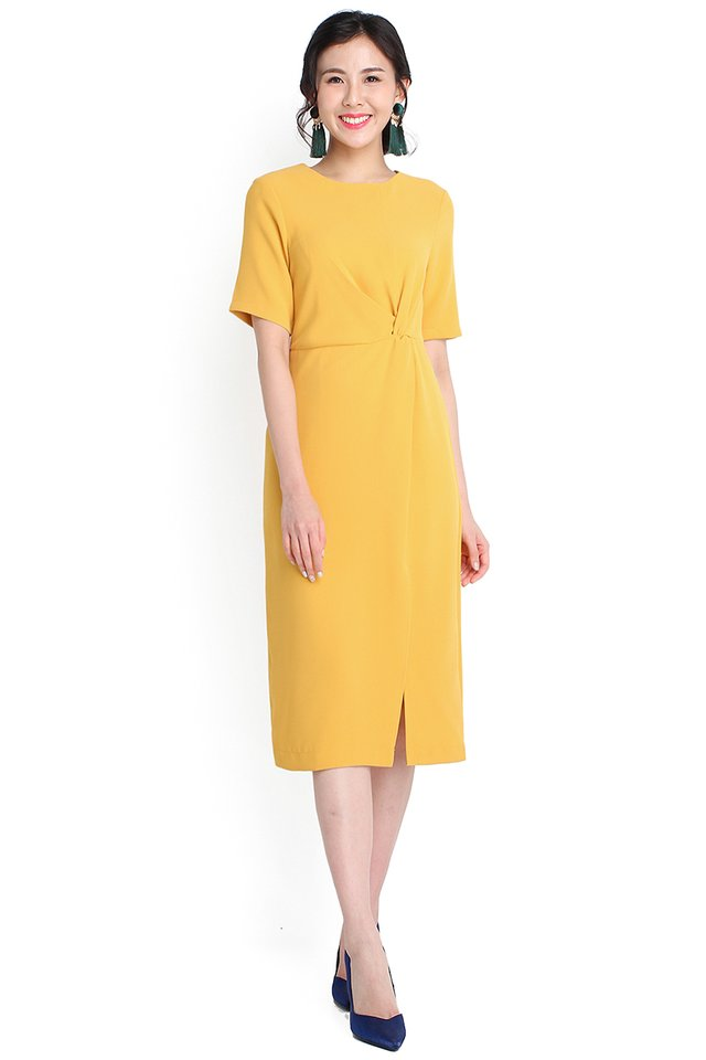 Brighter Than Sunshine Dress In Mustard Yellow