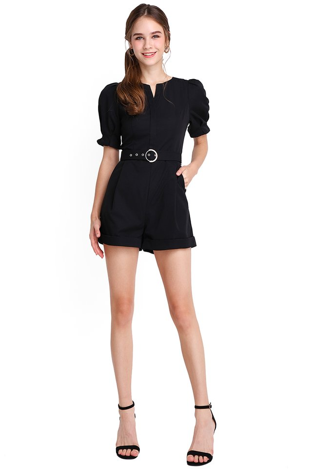 Caribbean Nights Romper In Classic Black