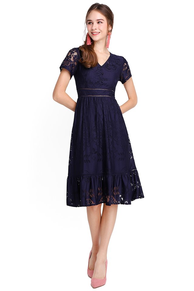 French Chateau Dress In Navy Blue