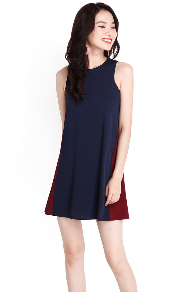 Elegantly Poised Dress In Blue Wine