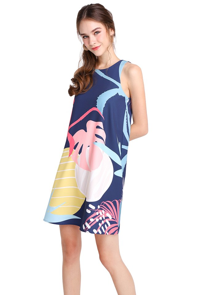 Sunset Lane Dress In Blue Prints