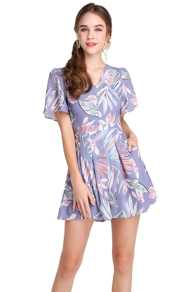 Beach Of La Concha Romper In Lilac Prints