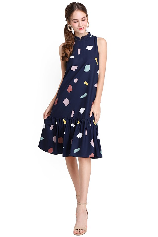 City Of Geometry Dress In Blue Prints