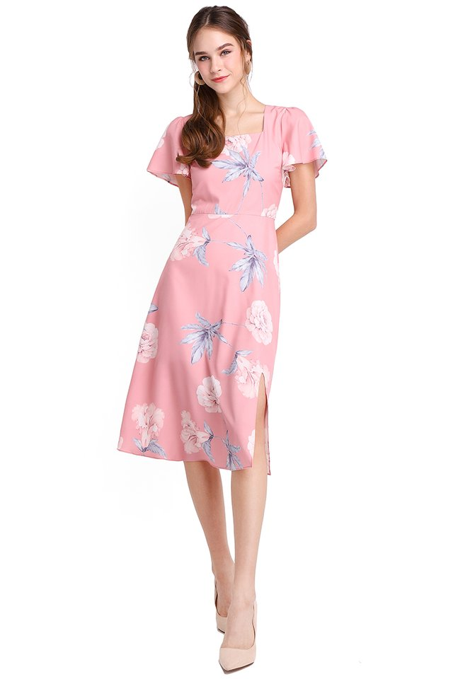 Parisian Romance Dress In Pink Florals