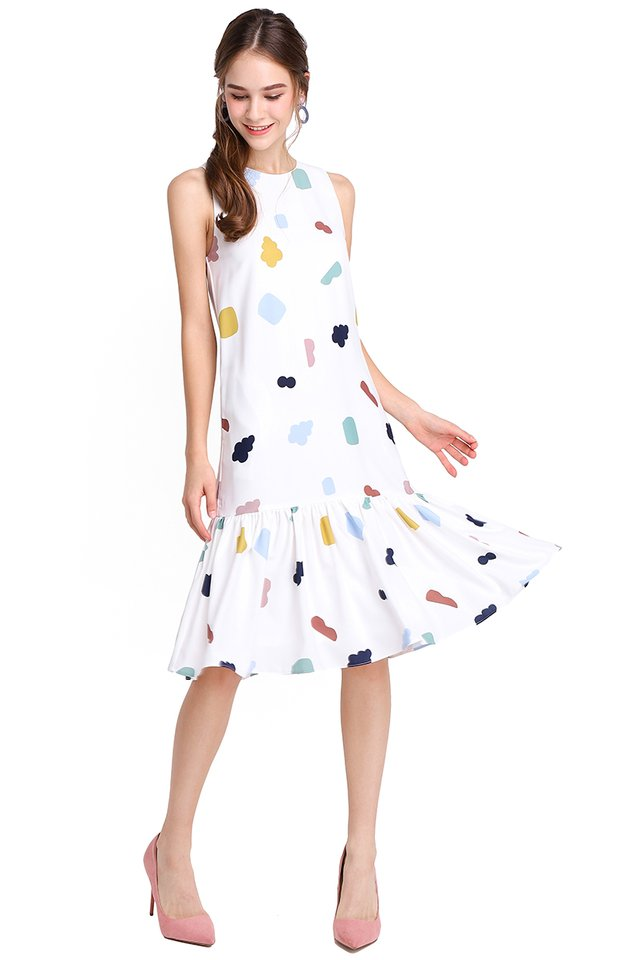 City Of Geometry Dress In White Prints