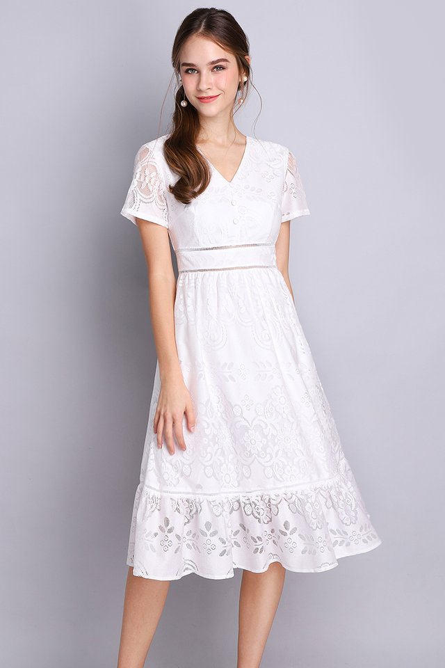 French Chateau Dress In Classic White