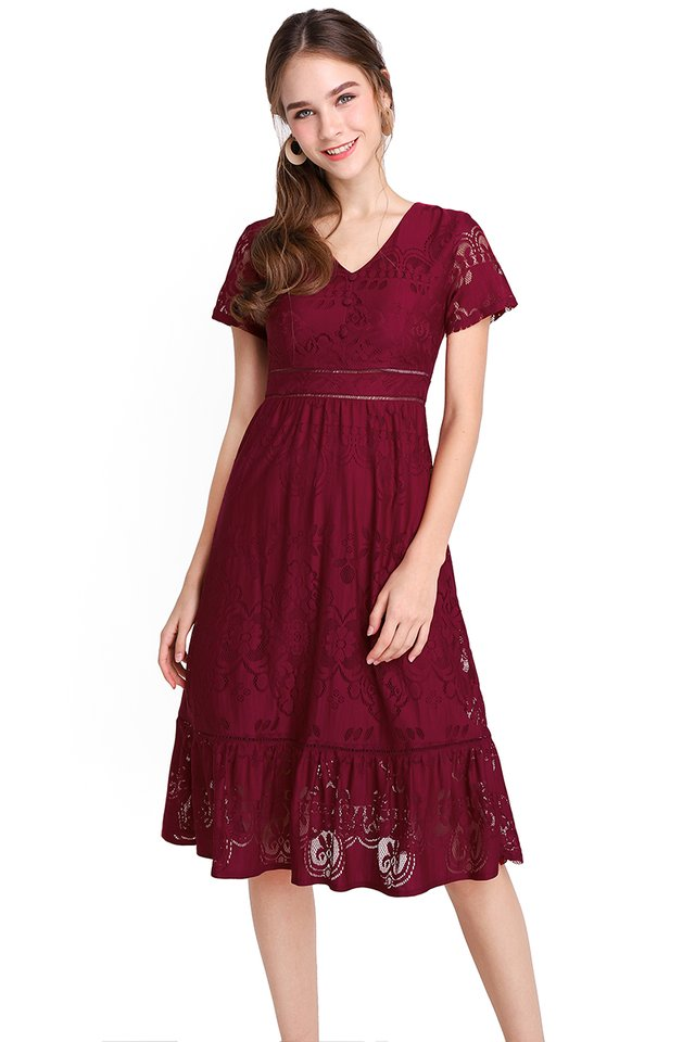 French Chateau Dress In Wine Red