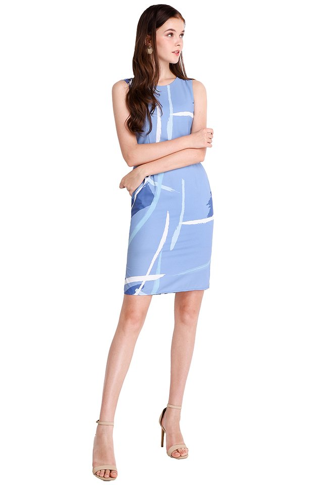 Painterly Situation Dress In Blue Prints
