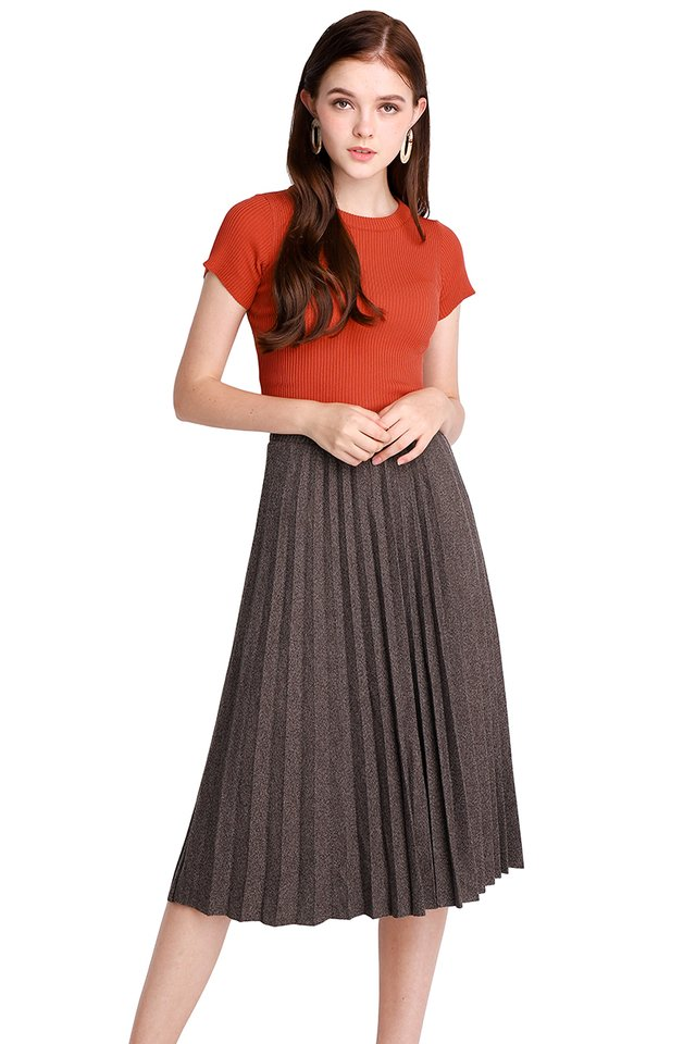 Spellbinding Twirl Skirt In Taupe Tweed