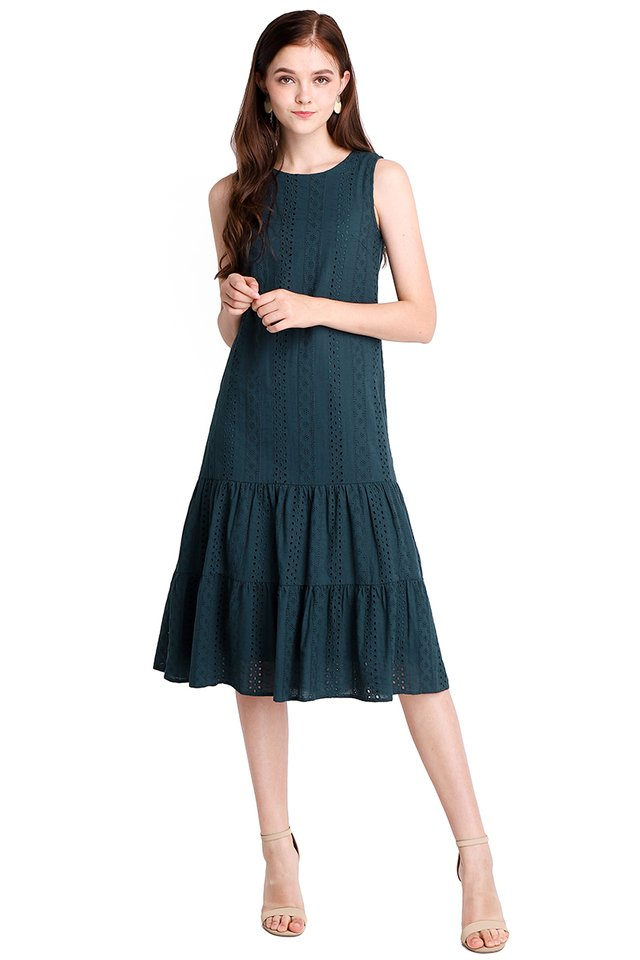 Dreamy Delight Dress In Forest Green