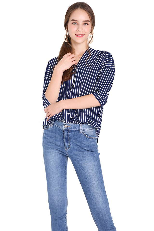 Casual Weekend Top In Blue Stripes