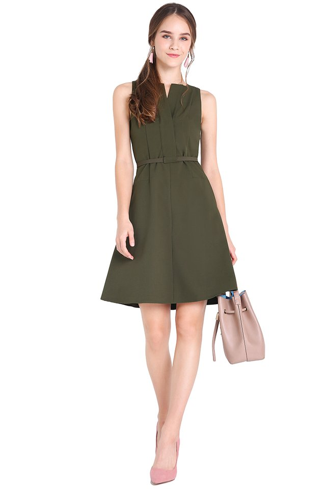 Found My Soulmate Dress In Olive Green