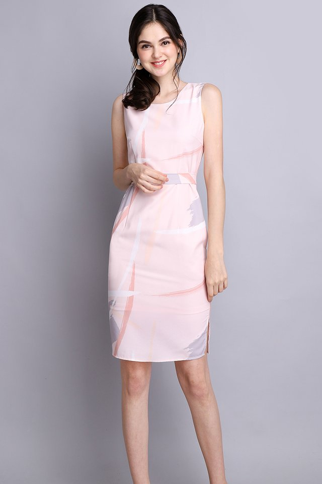 Painterly Situation Dress In Pink Prints