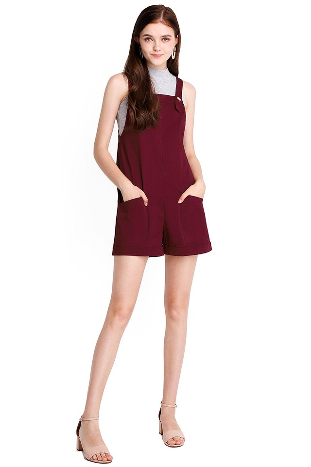 My Huckleberry Friend Romper In Wine Red