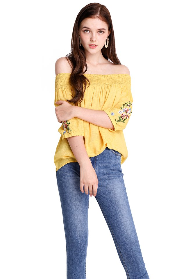 Florets Up My Sleeves Top In Sunshine Yellow