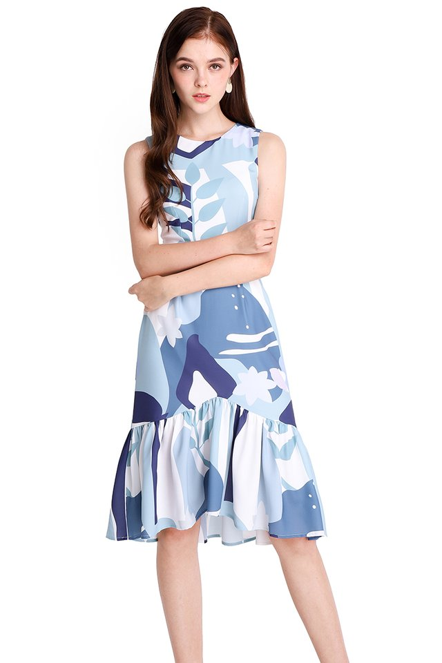 Wonders Of Nature Dress In Blue Prints
