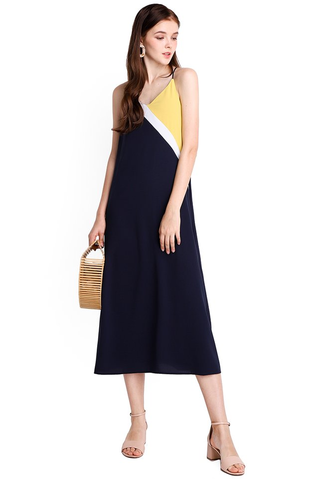 On The Fence Dress In Blue Yellow