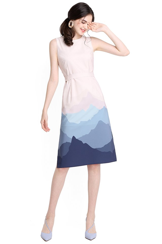 Sound Of The Mountain Dress In Sand Blue