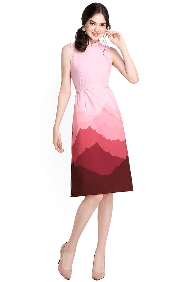 Sound Of The Mountain Dress In Pink Wine