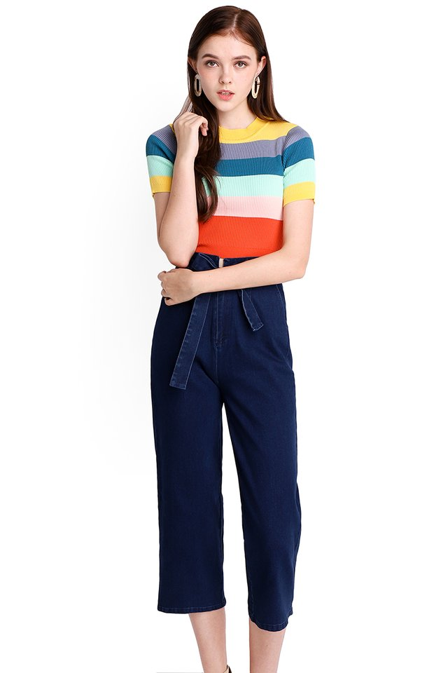 Over The Rainbow Top In Multicolour Stripes