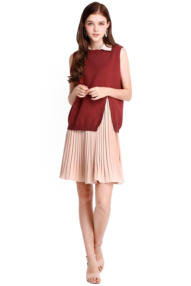 Falling For You Dress In Wine Sand