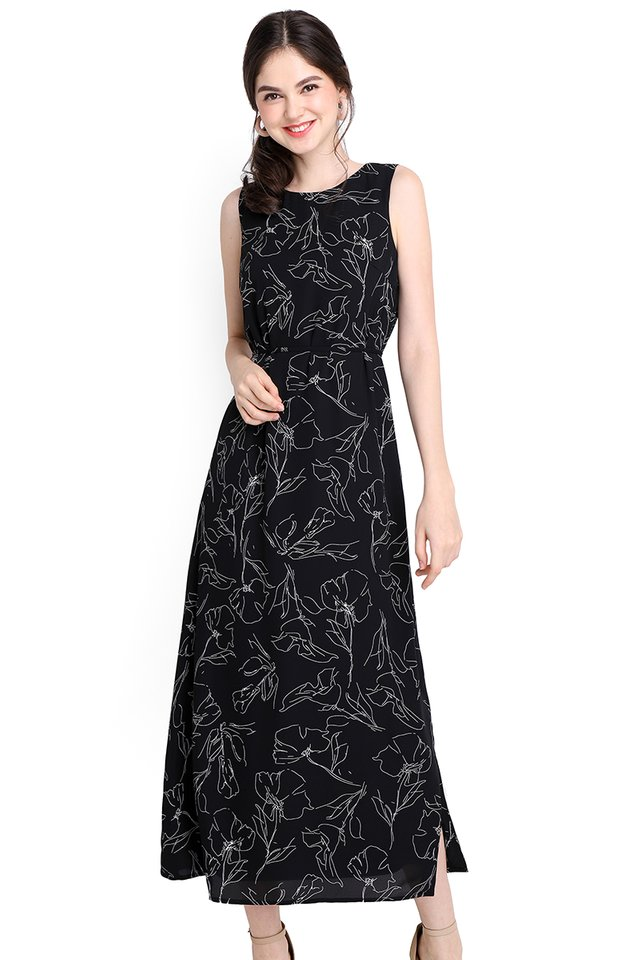 Enchanted Garden Dress In Black Florals