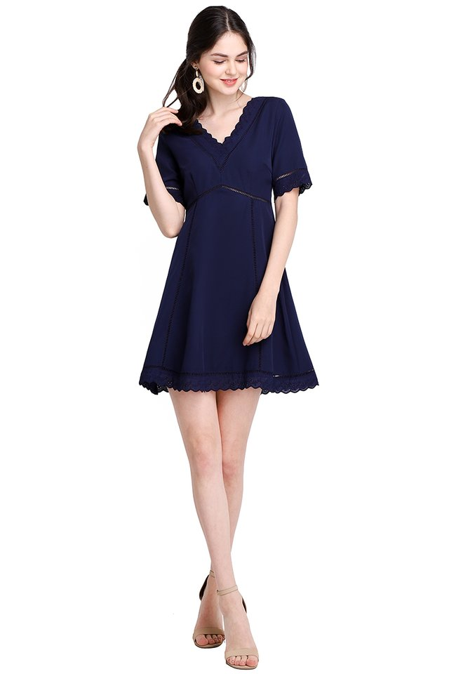 Wholly Romantic Dress In Navy Blue