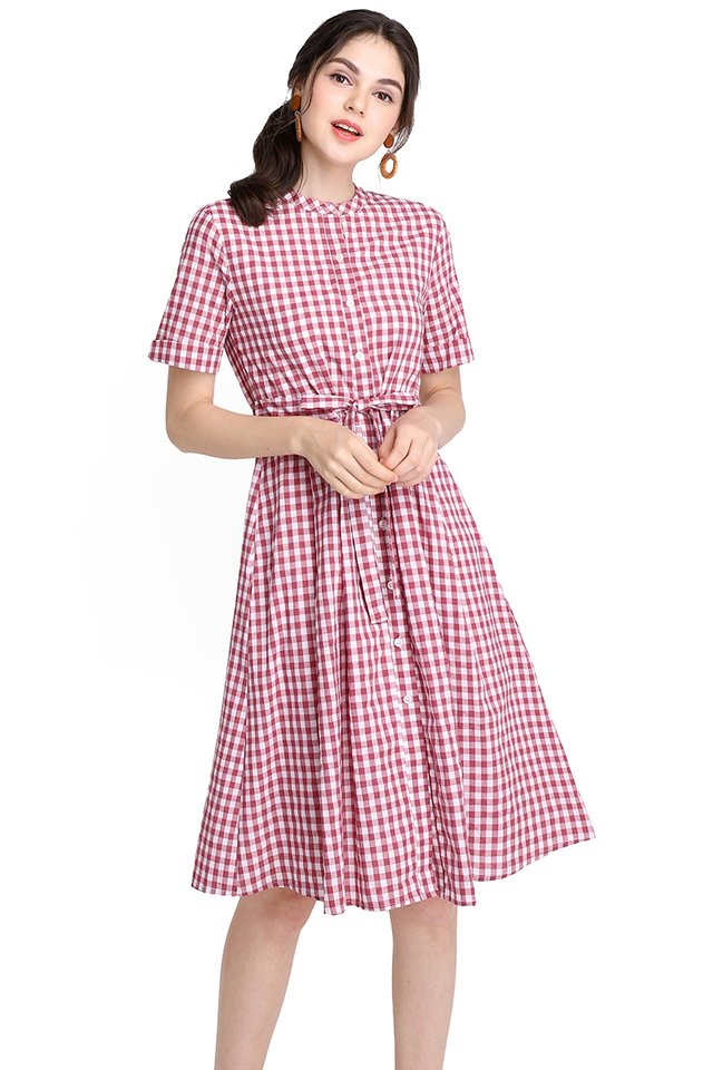 Chance Encounter Dress In Red Checks