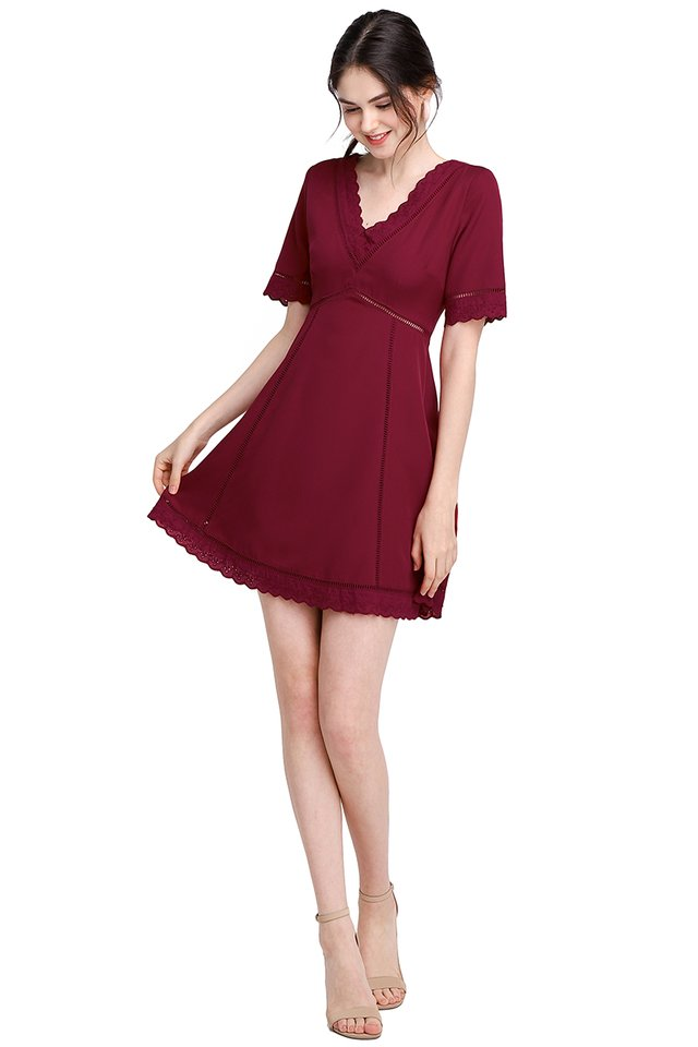Wholly Romantic Dress In Wine Red