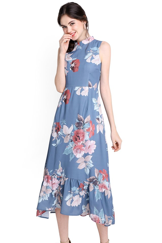Oriental Blooms Dress In Blue Florals
