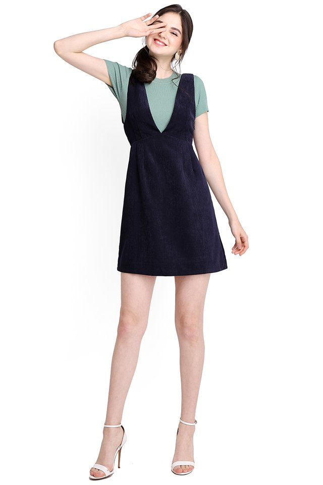 In Time For Spring Dress In Navy Blue