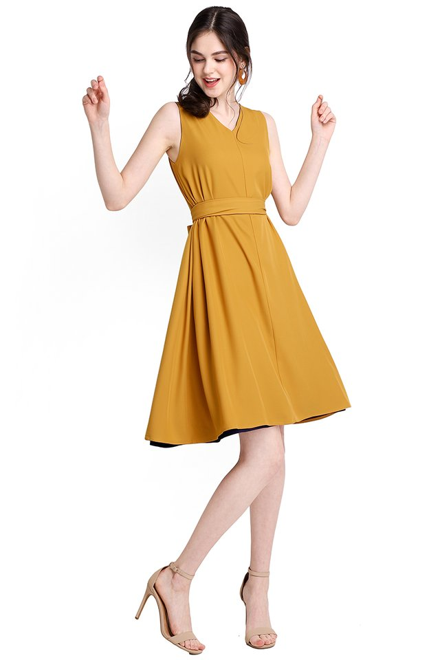Miss Optimist Dress In Blue Mustard