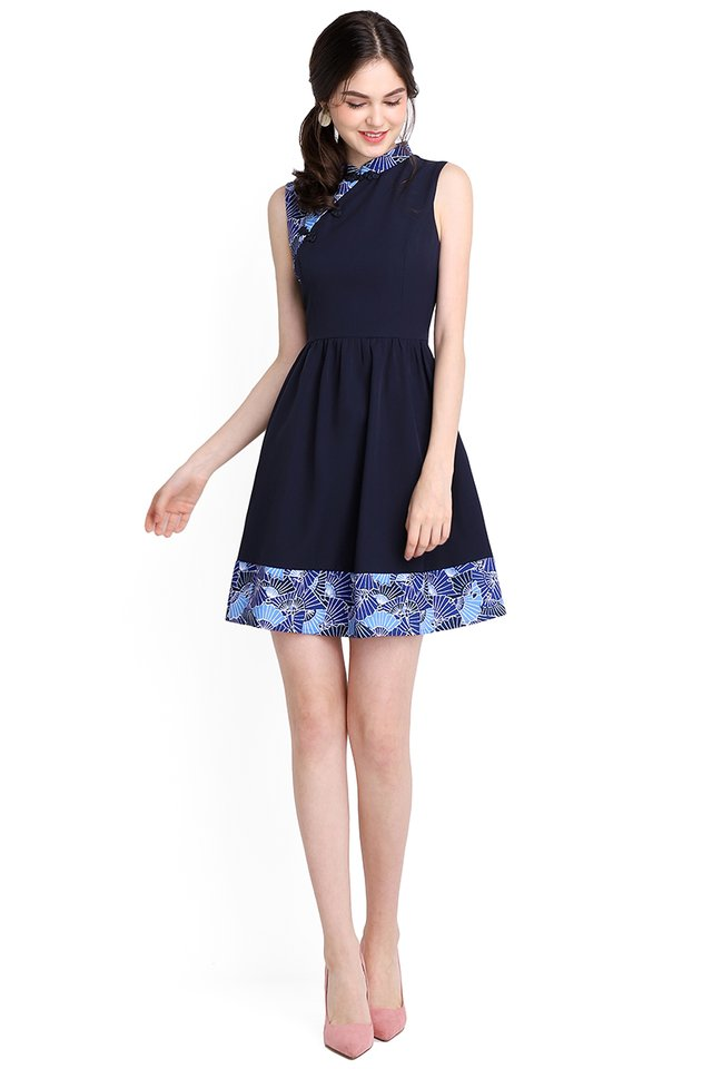 Season Of Blessings Cheongsam Dress In Navy Blue