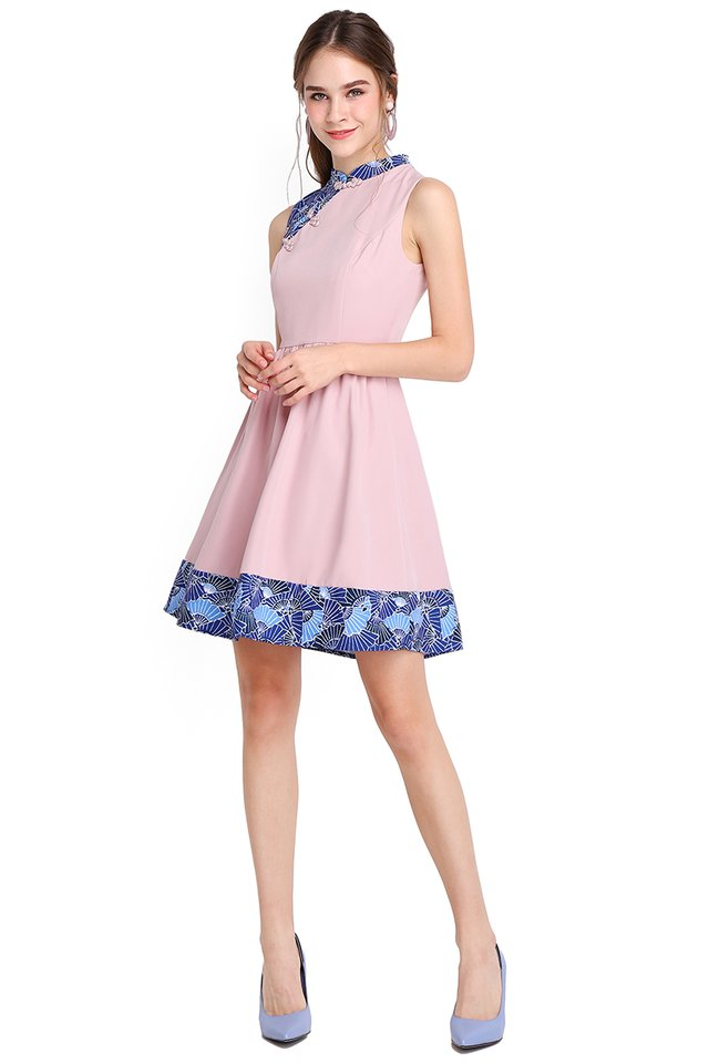 Season Of Blessings Cheongsam Dress In Dusty Pink
