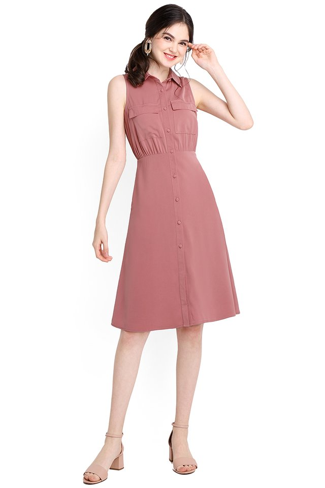Manhattan City Dress In Tea Rose