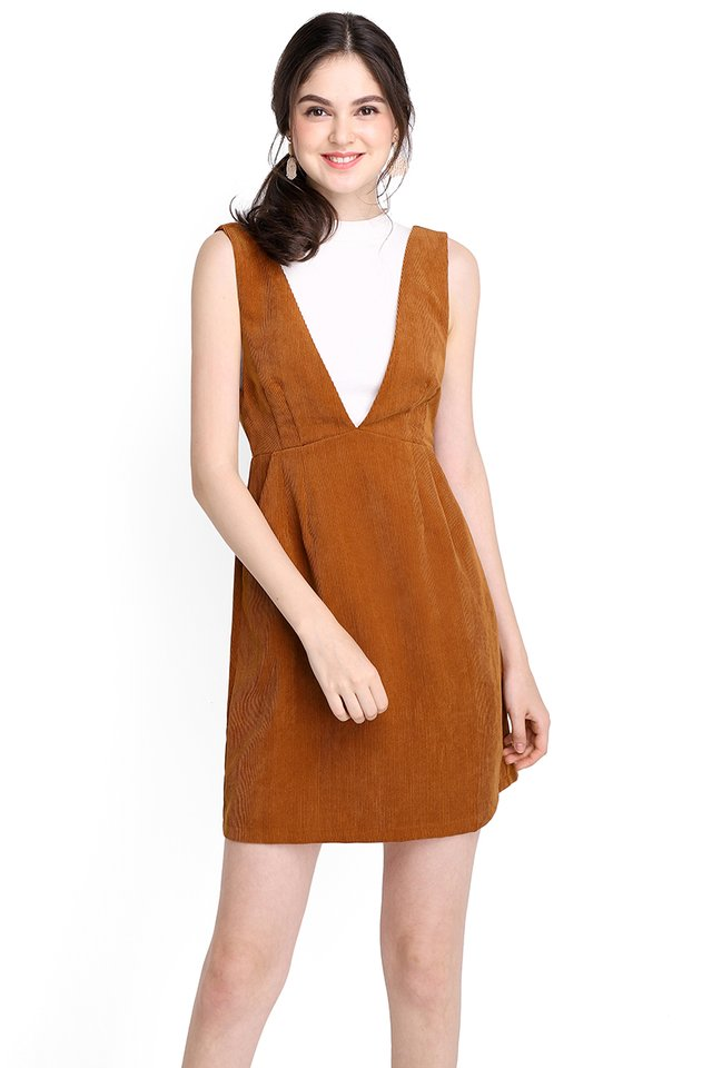 In Time For Spring Dress In Tan