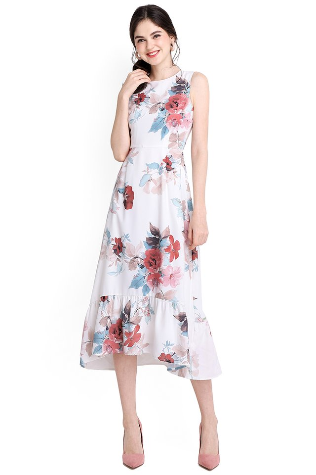 Oriental Blooms Dress In White Florals