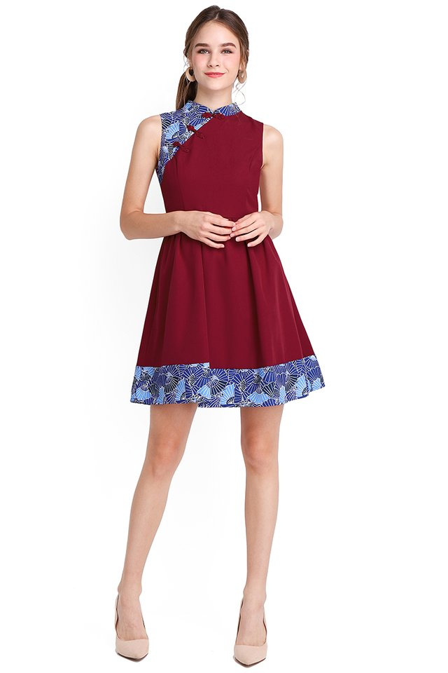 Season Of Blessings Cheongsam Dress In Wine Red