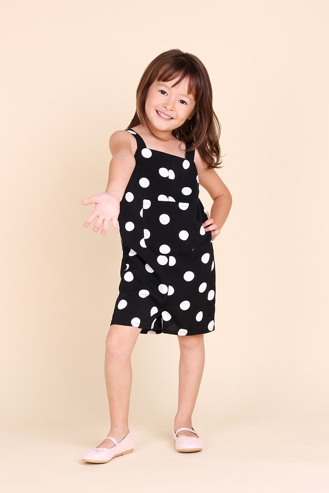 Little Funfair Romper In Black Dots